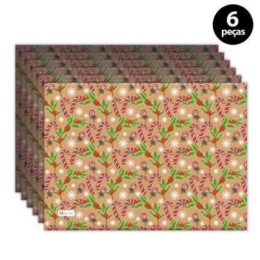 Imagem de Jogo Americano Mdecore Natal Bengala 40x28 cm Marrom 6pçs