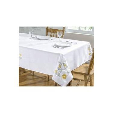 Imagem de Toalha De Mesa Bordada 2,20m X 1,40m Dália Branco E Amarelo