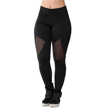 Calça Legging Fitness Feminina Galvic Com Detalhe Tela Tamanho:P; Cor:Preto