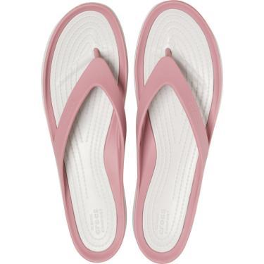 Sandália Crocs Swiftwater Flip Rosa/Branco.  feminino