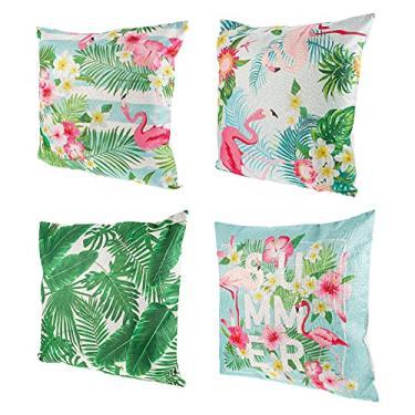 Imagem de LUOZZY 4 peças de capas de travesseiro de flamingo criativas, capas de travesseiro domésticas, artigos de festa havaiana
