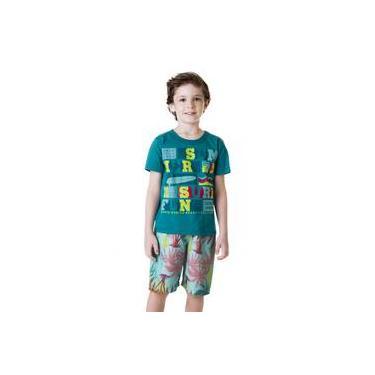 Conjunto Menino Camiseta Verde Surf E Bermuda Microfibra Palmeiras Bee Loop