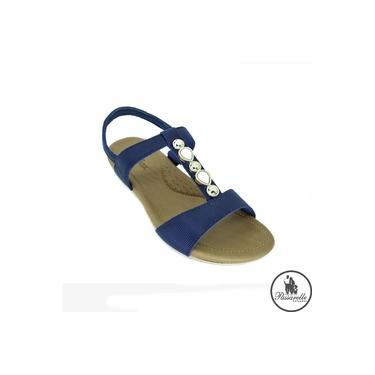 Sandália Feminina Usaflex Confort Com Pedras Elástico Anatômica Salto Anabela Baixo Couro AC7001 - Azul Escuro