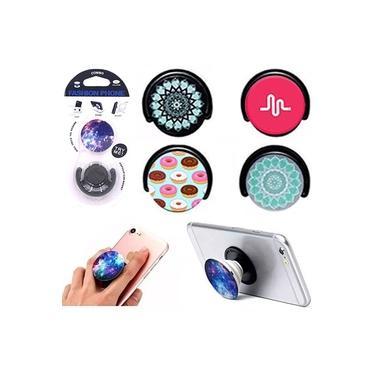 Suporte Para Celular Pop Socket Fashion Phone Na Cartela Estampa Sortidas - 3 Pçs