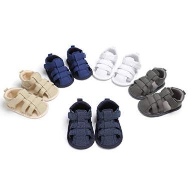 Imagem de Holibanna Sandália antiderrapante pré-andador sapatos de sola macia para bebês elegantes chinelos de lona plana (branca adequada para 0-6 meses), Branco, 9 Months Narrow Toddler