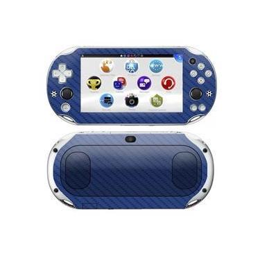 Kit Skin Adesivo Protetor 4D Fibra de Carbono PS VITA Playstation 2000 Slim (4D Azul)