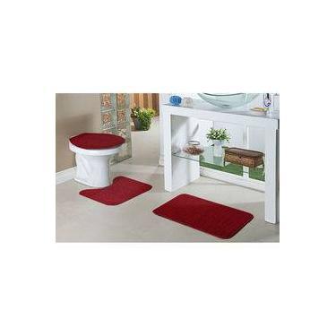 1c2557fa5 Kit Tapete Para Banheiro Relevo 3 Peças Vermelho