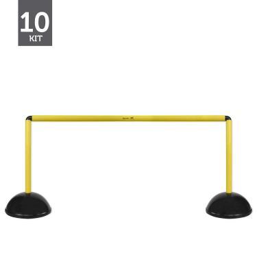 Kit Barreiras de Salto de Plástico - Multi Alturas - 10 unidades - Preto/Amarelo - Muvin