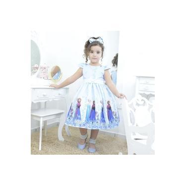 Vestido infantil festa Frozen Elsa e a Anna cor azul com branco