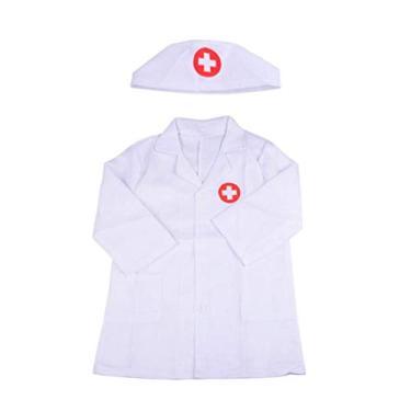 Imagem de TOYANDONA Fantasia de médico infantil com casaco e touca, acessórios de roupa para cosplay, encenação, festa de Halloween (branca)