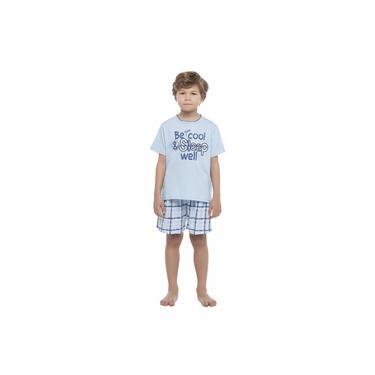 Pijama Menino Curto Xadrez Azul