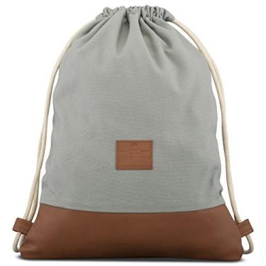 Bolsa de Algodão com Cordão – Bolsa de Gymsack Masculina e Feminina JOHNNY URBAN Canvas, Grey / Brown, One Size