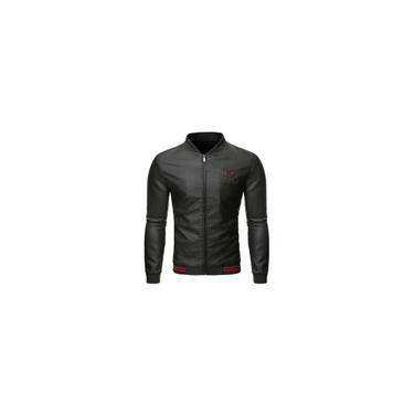 Jaqueta de couro masculina de outono e inverno motociclista com zíper casual casaco casual