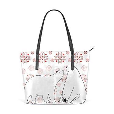 Bolsa de ombro para mulheres, sacola de couro, bolsa de compras, grande, trabalho, casal, ursos de gelo, bolsa casual