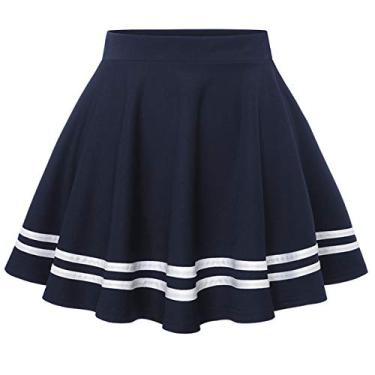 Wedtrend Saia feminina básica versátil elástica evasê rodada casual mini saia patinadora, A - azul-marinho, L