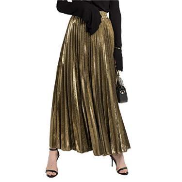 Saia longa plissada feminina Joymosho metálica brilhante acordeão brilhante, Dourado, Medium