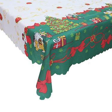Imagem de giveyoulucky 150 x 180 cm Toalha de mesa de Natal com estampa temática de Natal retangular requintada capa de mesa de poliéster decoração de festa C