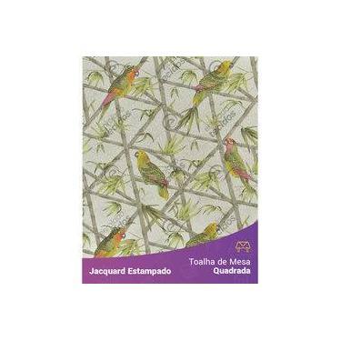 Imagem de Toalha De Mesa Quadrada Em Tecido Jacquard Estampado Floral Papagaio Cinza