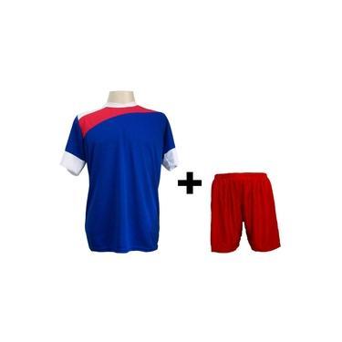 Uniforme Esportivo com 14 camisas modelo Sporting Royal/Vermelho/Branco + 14 calções modelo Madrid Vermelho +