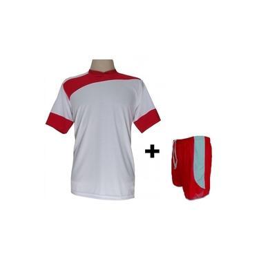 Imagem de Uniforme Esportivo com 14 camisas modelo Sporting Branco/Vermelho + 14 calções modelo Copa Vermelho/Branco +