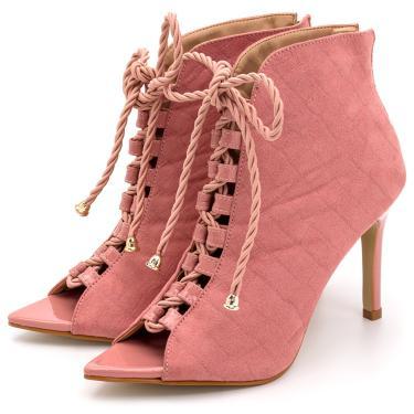 Sandália Bota Ankle Boot Salto Alto Feminina Confortável Em Croco Suede Rosa bebê  feminino