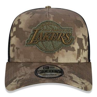 Boné New Era Aba Curva 940 ST NBA Lakers AF Trucker Camuflado - Bege