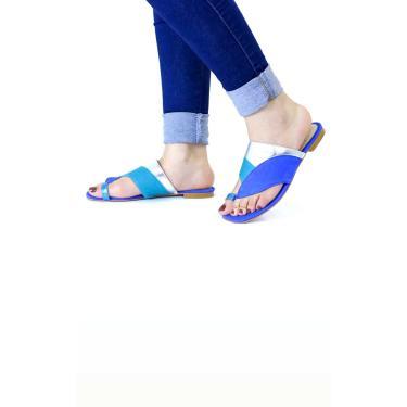 Rasteira em Couro Multicolor Assimétrica Dedo Le scarpe di Bruna - Azul  feminino
