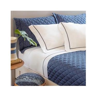 Imagem de jogo de cama casal scavone 300 fios 100% algodão normandie azul