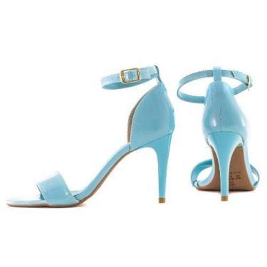Sandália Azul Bebe Claro Candy Verniz Salto Alto Fino Tira