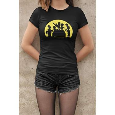 Camiseta Baby Look Simpsons Zombie Feminino Preto Tamanho:GG