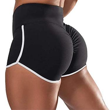 SAFTYBAY Short feminino para treino Scrunch Gym Yoga Biker Pants cintura alta levanta bumbum leggings esportivas shorts (preto, GG)