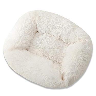 Cama quadrada super macia para cães grandes quente tapete de gato cama para filhotes cama de cachorro, tapete para ninho para animais de estimação, acessórios 55 x 45 x 20 cm, branco