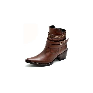 Bota Country Feminina Bico Fino Top Franca Shoes Caramelo  feminino