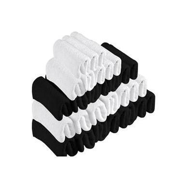 Imagem de Kit 30 Toalhas de Rosto Para Salão Beleza 100% Algodão 40 x 65 cm Branca Preta