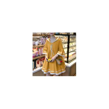 Vonda Summer Women Casual T-shirt Dress 3/4 manga cor sólida solta mini vestido plus size vestidos Amarelo M