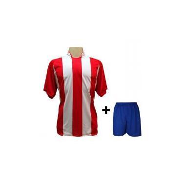 Uniforme Esportivo com 18 camisas modelo Milan Vermelho Branco + 18 calções  modelo Madrid Royal 067404d8f71e3