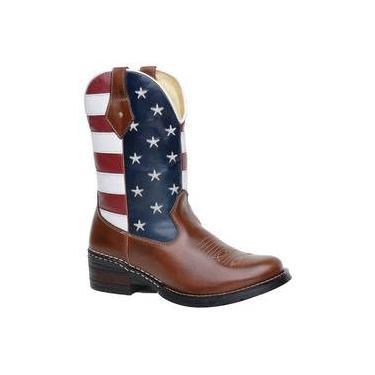 Bota Botina Texana Americana Eua Masculina Couro Legítimo Bico Redondo
