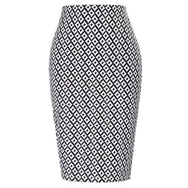 Grace Karin Saia feminina elegante franzida no joelho slim fit executiva, Black+white, Large