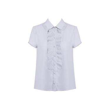 Camisa Feminina Manga Curta com Babado Plissado Seiki em Crepe 320291