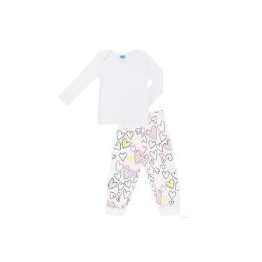 Pijama Feminino Infantil Pequeninar Manga Longa Coração