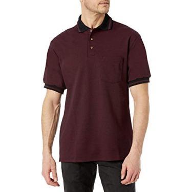 Imagem de Camisa de malha masculina Red Kap Performance, Burgundy/Black, XX-Large