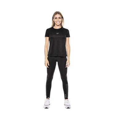 Speedo Camiseta Interlock Fem. Uv50 Mulheres G Preto