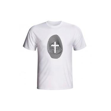 Camiseta Cristã Impressão Digital Cruz