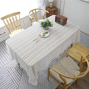 Toalha de mesa branca rosa, crochê, pano de algodão, decoração da casa, toalha de mesa, toalha de piano, sala de estar 140x220 cm