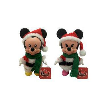 Imagem de Kit Bonecos Pequenos Natal Disney Multibrink : Mickey Papai Noel + Minnie Mamãe Noel