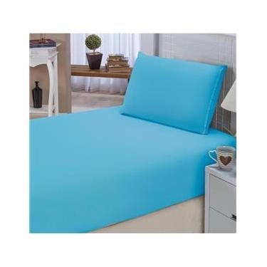 e54c9a1429 Jogo de Lençol Solteiro Padrão Liso Pati 02 Peças Tecido Microfibra - Azul