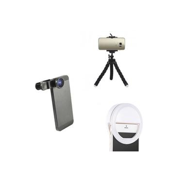 Kit Youtuber 3 Mini Tripe Luz de Selfie Lente Olho de Peixe