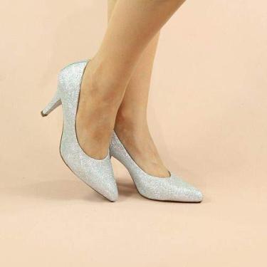 Sandália Salto Médio Baixo Fino Prata Prateado Glitter