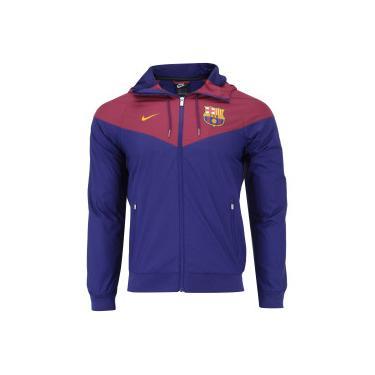 Jaqueta Barcelona Windrunner 18 19 com Capuz Nike - Masculina - AZUL ESCURO  Nike 1eaff5d2be16c