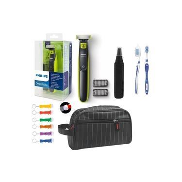 Barbeador Philips One Blade Oneblade Qp2521/10 Seco Molhado Com Aparador De Pelos Do Nariz E Necessaire